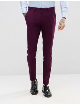 Asos Super Skinny Fit Suit Trousers In Blackcurrant by Asos