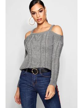 Zoe Slash Detail Cable Knit Jumper by Boohoo