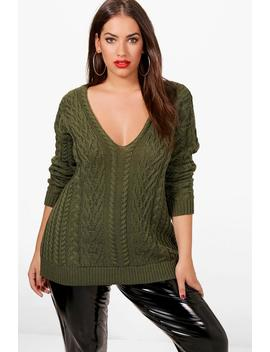Plus Gemma V Neck Cable Knitted Jumper by Boohoo
