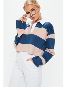 Blue & Pink Striped Cropped Rugby Shirt Top by Missguided
