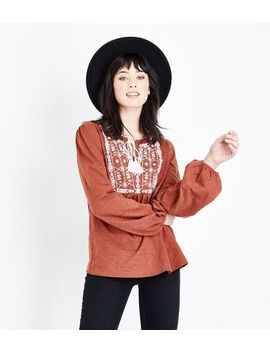Rust Embroidered Front Balloon Sleeve Top by New Look