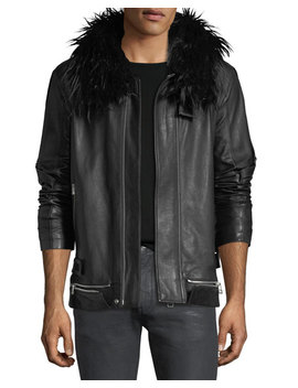 Long Leather Zip Front Coat by Helmut Lang