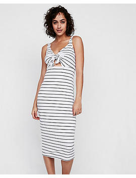 Petite Ribbed Tie Front Midi Dress by Express