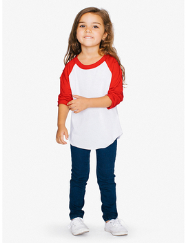 Toddler 50/50 3/4 Sleeve Raglan by American Apparel