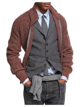 Melange Cashmere Zip Front Cardigan by Brunello Cucinelli