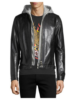 Leather Racer Jacket With Detachable Hoodie by Dsquared2