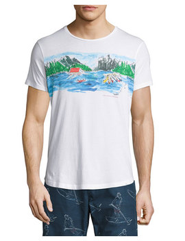Canoe Canoodle Tailored Fit Crewneck T Shirt, White by Orlebar Brown
