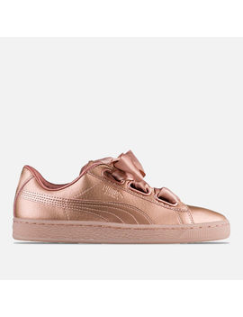Women's Puma Basket Heart Copper Casual Shoes by Puma