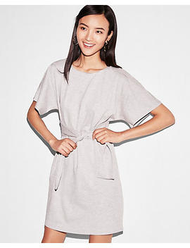 Petite Heathered Tie Front Dolman Dress by Express