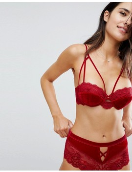 Asos Crystal Red Velvet French Knicker by Asos Collection