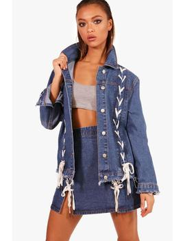 Lynne Lace Up Detail Oversize Denim Jacket by Boohoo