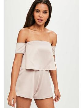 Pink Double Layer Crepe Playsuit by Missguided