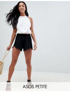 Asos Design Petite Pom Pom Shorts With Tassel Tie by Asos Design