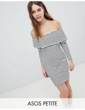 Asos Design Petite Long Sleeve Bardot Bodycon Dress In Stripe by Asos Design