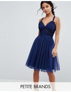 Chi Chi London Petite Tulle Midi Dress With Lace Detail by Chi Chi London Petite