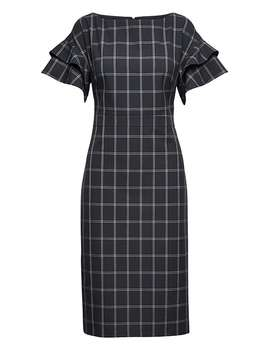 Machine Washable Windowpane Tiered Sleeve Dress by Banana Repbulic