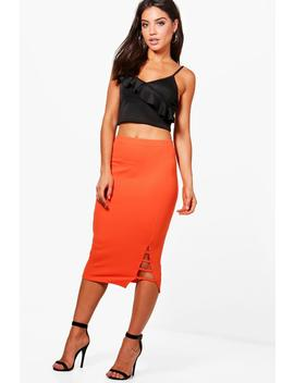 Faye Ladder Hem Detail Midi Skirt by Boohoo