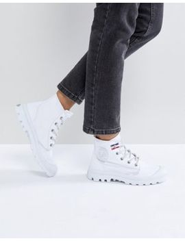 Palladium Pampa White Hi Rive Gauche Flat Ankle Boots by Palladium