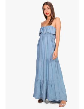 Michi Ruffle Tiered Denim Maxi Dress by Boohoo