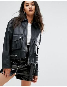 Missguided Leather Look Trucker Jacket by Missguided