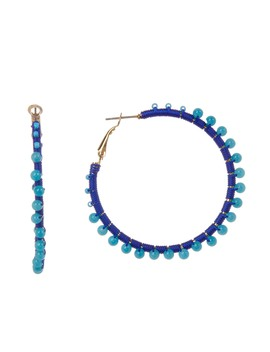 Thread Wrapped Beaded 50mm Hoop Earrings by Rebecca Minkoff