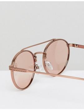 Asos Design Aviator Sunglasses In Rose Gold With Brow Bar by Asos Design