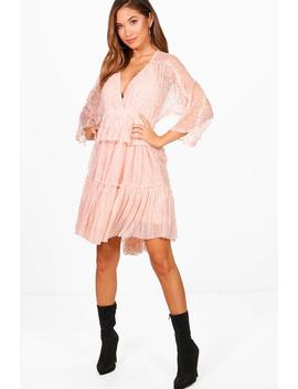Phoebe Dobby Spot Batwing Ruffle Dress by Boohoo