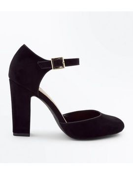 Wide Fit Black Suedette Round Toe Courts by New Look