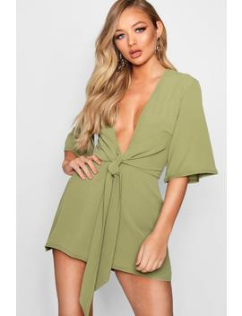Theresa Tie Front Playsuit by Boohoo