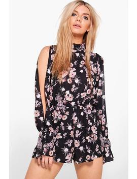 Sofia High Neck Split Sleeve Floral Playsuit by Boohoo