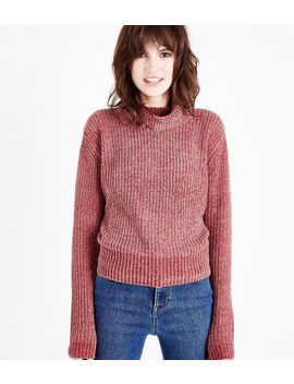 Mid Pink Chenille Roll Neck Jumper by New Look