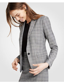 Glen Plaid One Button Perfect Blazer by Ann Taylor