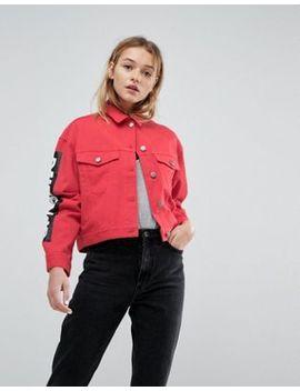 Asos   Veste En Jean Avec Coutures Contrastantes Et Manches Imprimées   Rouge by Asos Collection