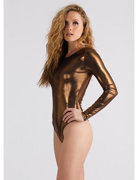 Sheen Stealer Metallic Thong Bodysuit by Go Jane