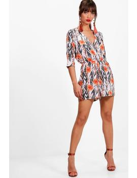 Sally Wrap Front Floral Playsuit by Boohoo