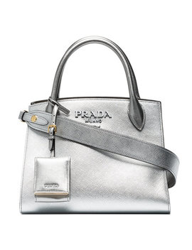 Silver Monogram Leather Tote Bag by Prada