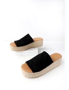 O'ahu Black Flatform Espadrille Slides by Lulu's