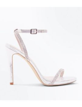 Silver Diamante Strap Stiletto Wedding Shoes by New Look
