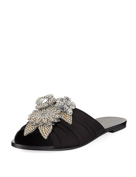 Lilico Crystal Ruched Satin Slide Sandal by Sophia Webster