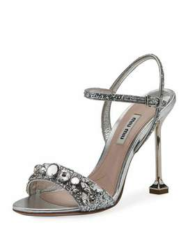 Jeweled Glitter 105mm Sandal by Miu Miu