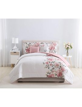Mainstays Pink Floral Shearwater 5 Piece Bedding Comforter Set by Mainstays Home