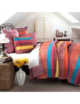 Boho Stripe 5 Piece Fuchsia Quilt Set by Lush Decor