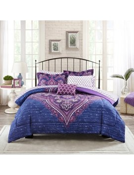 Mainstays Grace Medallion Purple Bed In A Bag Complete Bedding Set by Mainstays