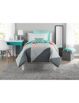 Mainstays Gray And Teal Bed In A Bag Comforter Set by Mainstays