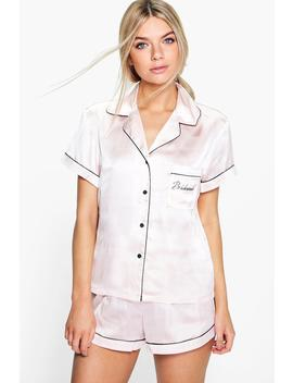 Eve Bridesmaid Embroidered Satin Tshirt + Short Set by Boohoo