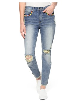Embroidered Tropicana Denim Boyfriend Jean by Juicy Couture