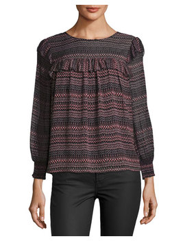 Adelais Geo Stripe Long Sleeve Blouse by Neiman Marcus