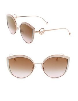 58 Mm Metal Cat Eye Sunglasses by Fendi