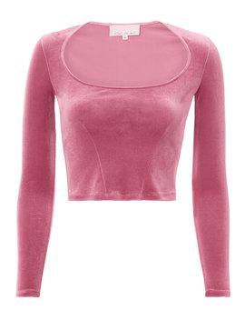 Velvet Pink Crop Top by Fleur Du Mal