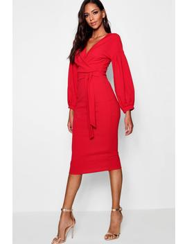 Tall Mabel Off The Shoulder Wrap Midi Bodycon Dress by Boohoo